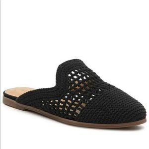New | Lucky Brand Black Carnova Crochet mule 6/36